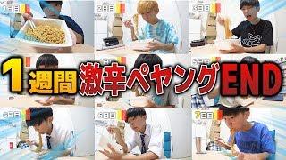"""【1週間】ペヤング激辛MAX""""END""""食べ続けたら何日目で辛くなくなるの?"""