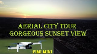 2021 New Fimi Mini x8 Drone Flight Over City at Beautiful & Gorgeous Sunset Time over cityscape
