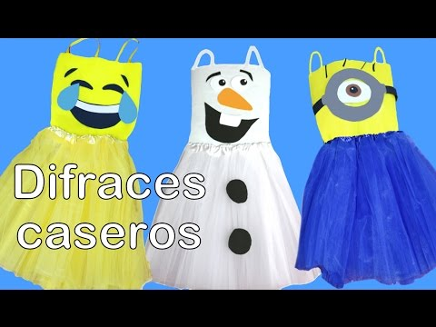 Disfraces caseros de última hora, para Halloween, con tutu y sin coser, de Olaf, Minion y emoticono