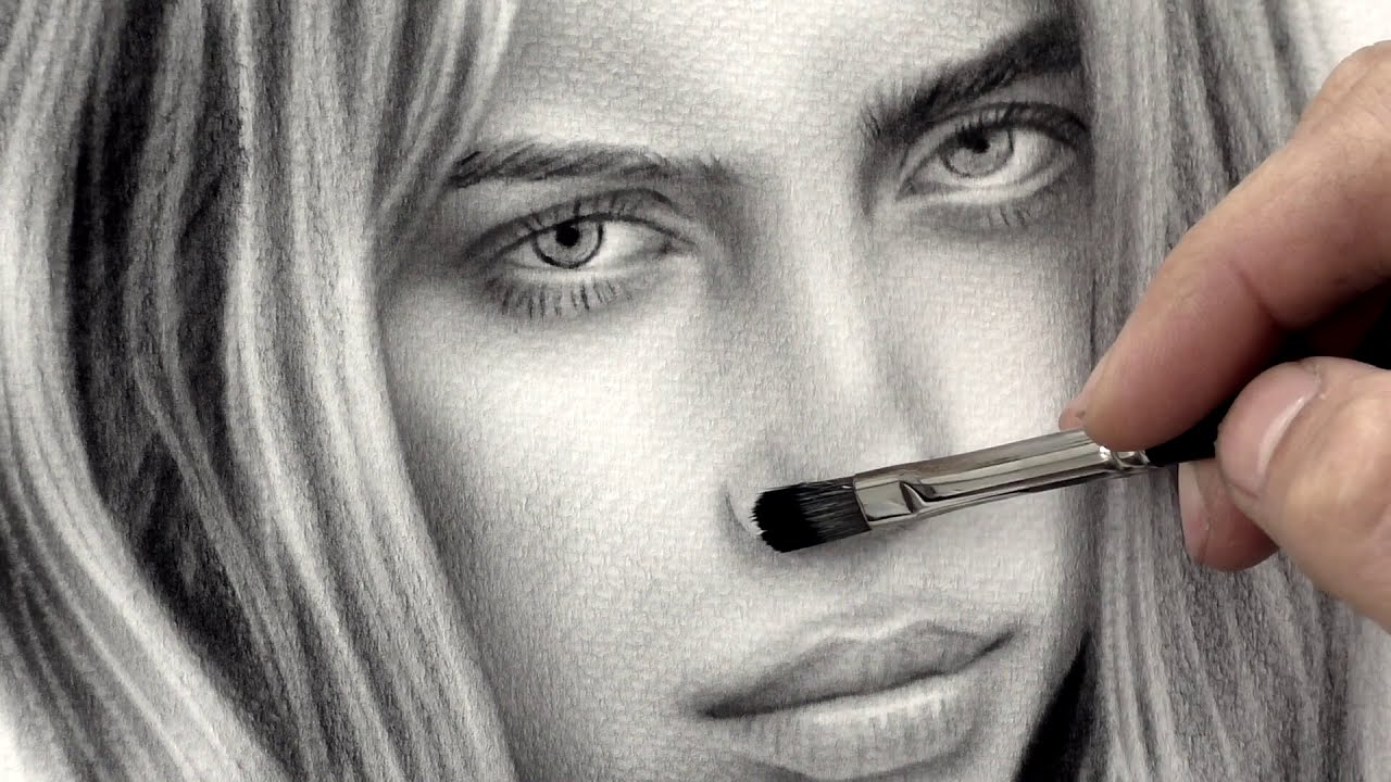 3d drawing of billie eilish by stefan pabst