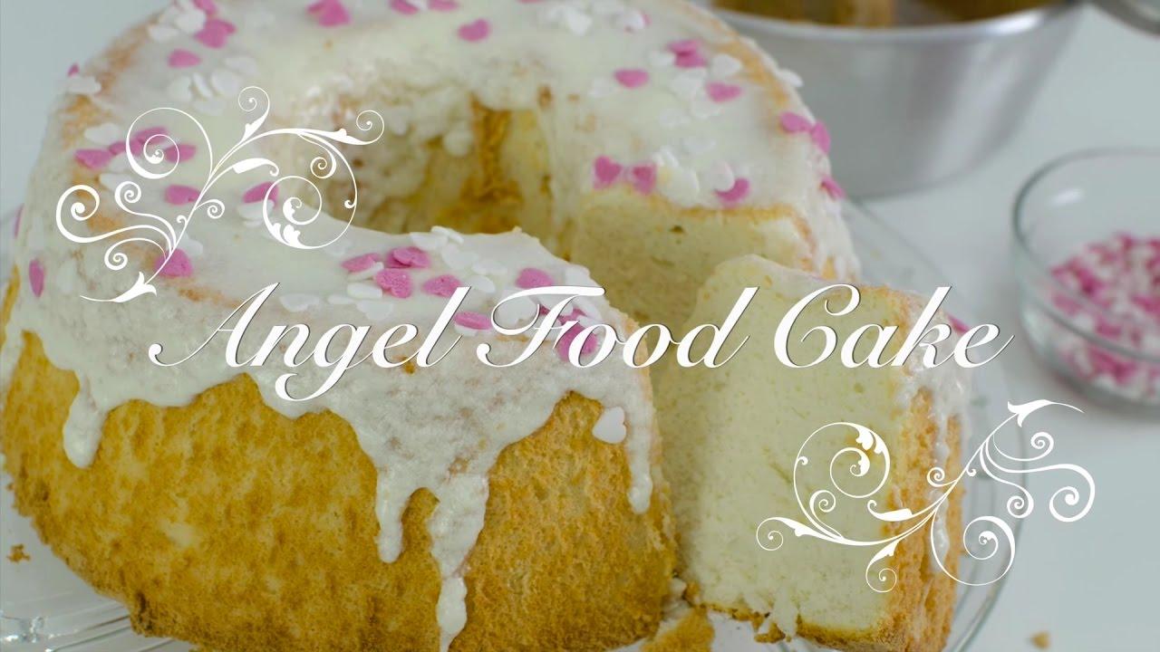 Angel food cake español o pastel angel con glaseado de vainilla | Bizcocho de claras angel cake