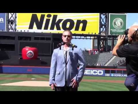 Vocal student Sam Tesch singing the national anthem at Citifield for the New York Mets""