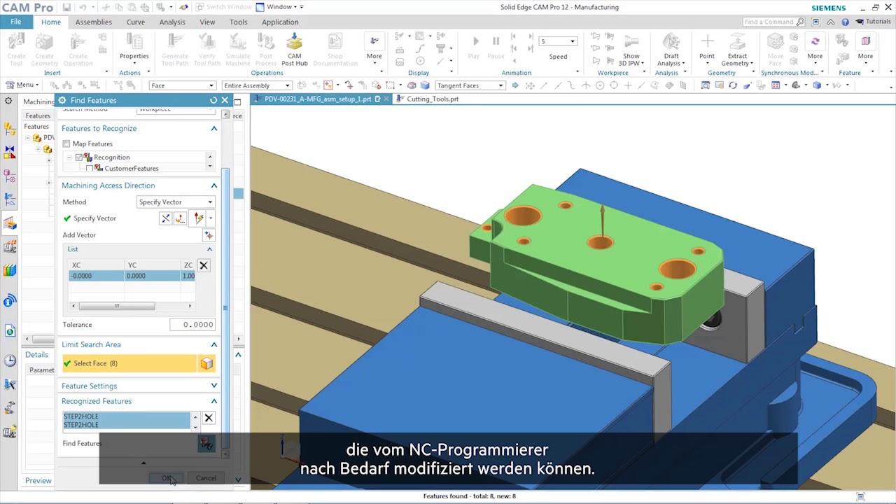 Vorschaubild: Solid Edge 2019: Solid Edge CAM Pro für die Fertigung