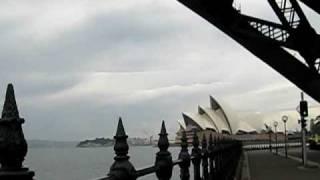 Sydney - standing just under famous Harbour Bridge