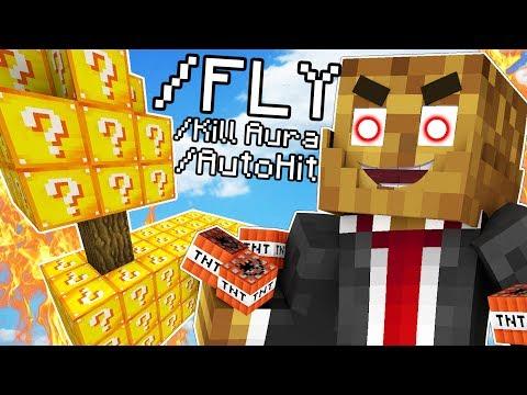 HACKING IN MINECRAFT PRANK - Minecraft Lucky Block Skywars