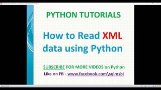 Python Tutorial   Read XML using python   python xml parsing