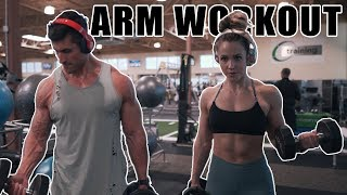 Brad and Aubrie's Full Arm Day - Arm Day For Girls - Build Bigger Arms - Full Workout