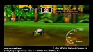"Mario Kart 64 - Time Trials - Donkey Kong's Jungle Parkway Flap 45""01 King F [N64 PAL]"