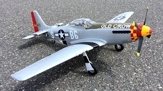 Eleven Hobby P-51 Mustang WWII Warbird RC Plane Fun Flight On Windy Day