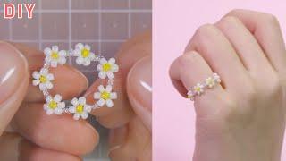 비즈로 꽃 반지 만들기