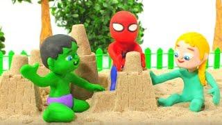 SUPERHERO BABIES MAKE SAND FIGURES ❤ Spiderman, Hulk & Frozen Elsa Play Doh Cartoons For Kids