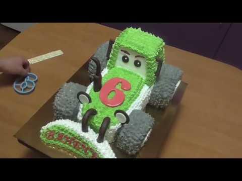 Как украсить торт Трактор белковым кремом