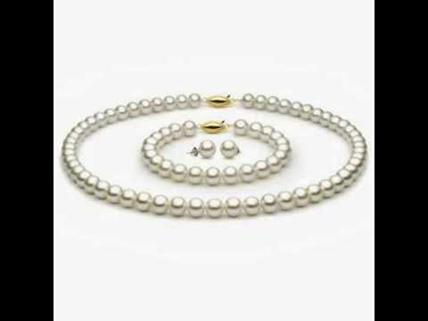 14k Gold 7.5-8mm White Freshwater Cultured Pearl Set AAA Quality, Set Includes Necklace, Bracelet, &
