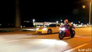 900hp Toyota Supra Vs Ducati 1199 Panigale S On The Highway (HD)
