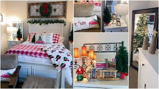 CHRISTMAS BEDROOM DECORATE WITH ME | COZY LODGE