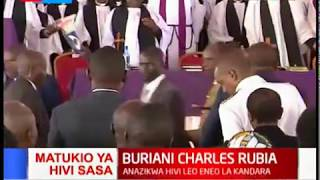 Happening Now: President Uhuru arrives at the burial of Charles Rubia in Murang'a