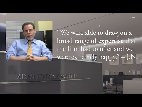 """""""We were able to draw on a broad range of expertise that the firm had to offer and we were extremely happy."""" – J.N. testimonial video thumbnail"""