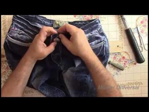 Как поставить пуговицу - кнопку на джинсы.