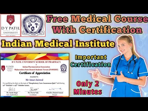Free medical certificate | Indian medical institute | Free online courses