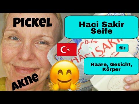 Reinigung mit Haci Sakir Seife, Haut, Haare und Gesicht, Türkische Kernseife, Schuppen, Akne, Pickel