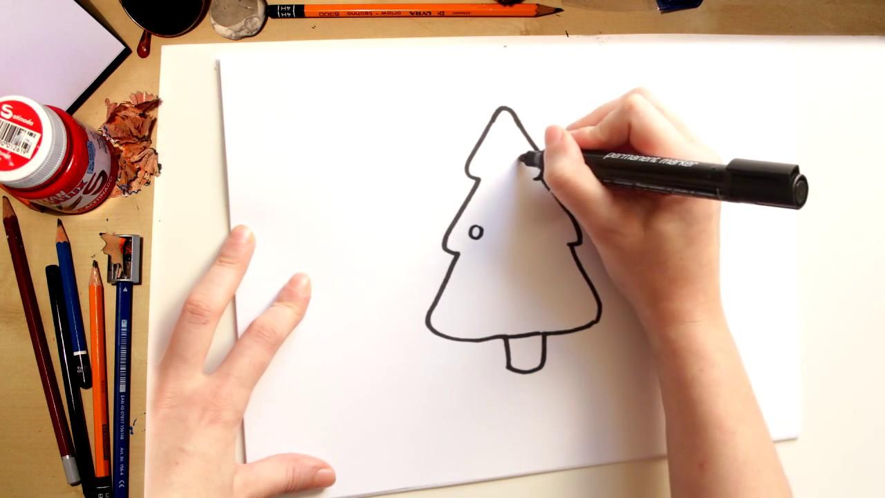????????Como dibujar un árbol de Navidad fácil (comentado)