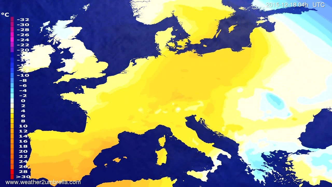 Temperature forecast Europe 2015-12-14