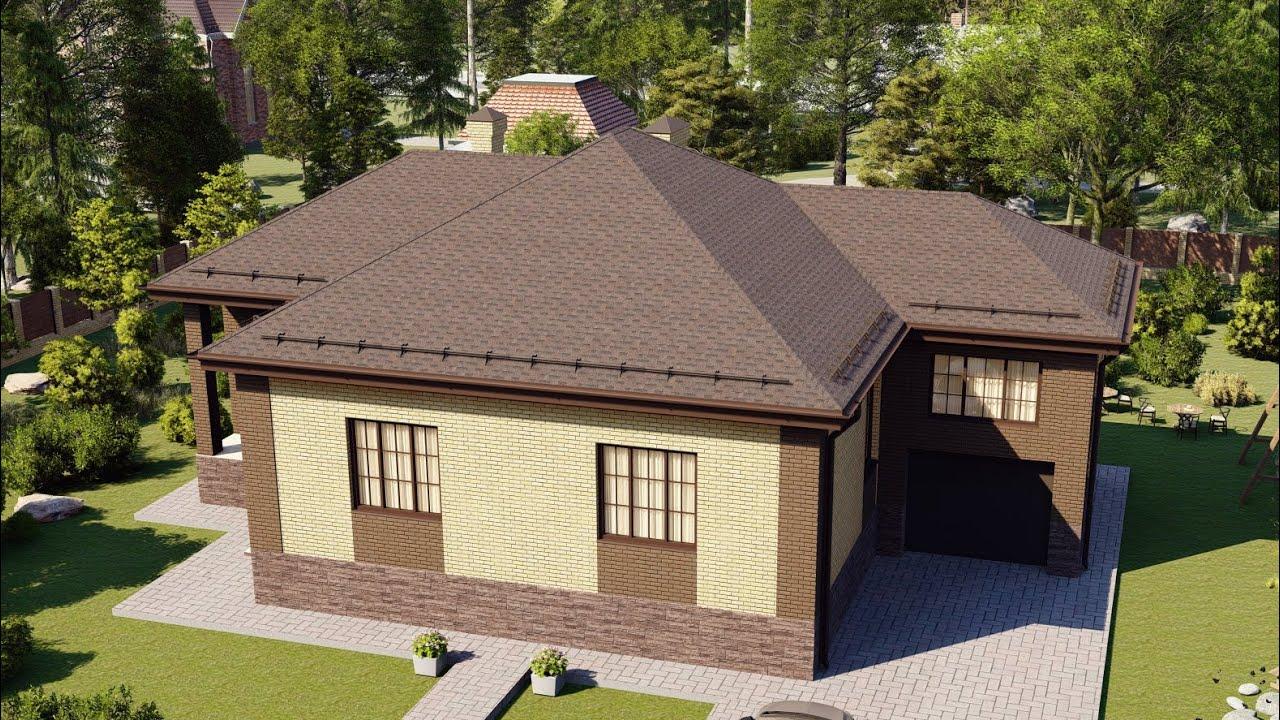 Проект дома 1 этаж с гаражом и комнатой над гаражом