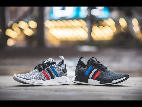 Adidas nmd r1 terra brown colorway in piedi