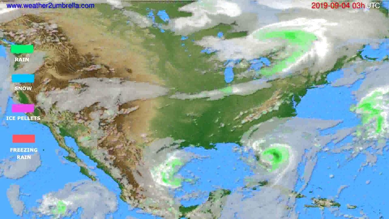 Precipitation forecast USA & Canada // modelrun: 00h UTC 2019-09-01