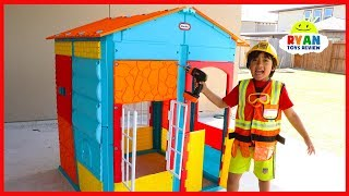 Ryan Pretend Play Building Little Tikes PlayHouse!!! - Video Youtube