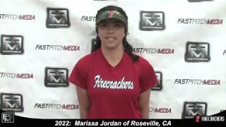 2022 Marissa Jordan Middle Infield and Outfield Softball Skills Video - Firecrackers Mettler