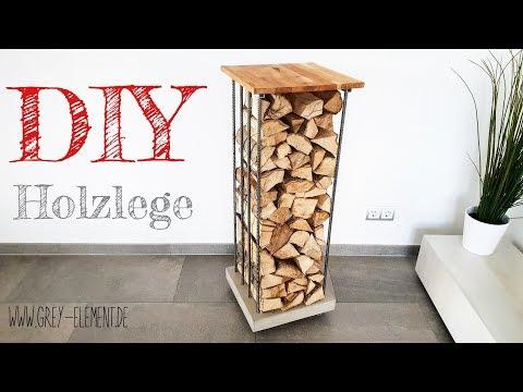 Ein Kaminholzregal / Holzlege selber bauen - concrete furniture -DIY-