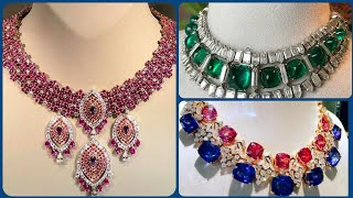 Beautiful Fascinating Fabulous Ruby Colour Full Diamond Necklaces Designs