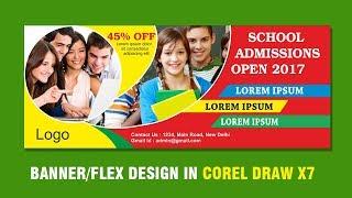 Flex banner hoarding billboard designing in Corel Draw x7 tutorial | Education banner design