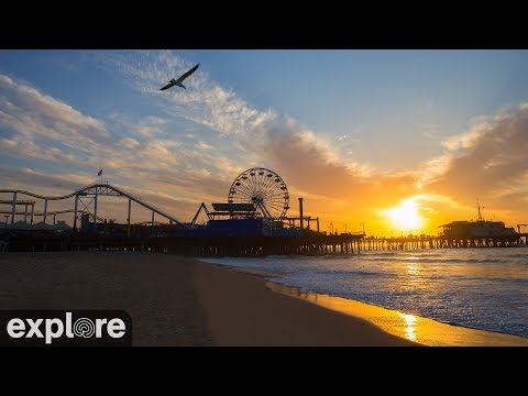 rollercoaster, live, stream, amusement, park, rides, people, california, beach, ocean, water, sunset