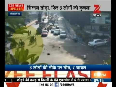 Watch shocking visuals - Speeding car rams pedestrians in Kolkata, 3 killed
