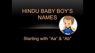 """Top Most  Popular Unique  and meaningful  , Hindu Baby Boy Names 2018 !! Starting with """"aa"""" and """"ab"""""""