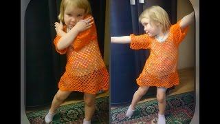 летняя туника на девочку 4 -  5 лет, вязание крючком