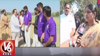 MP Nagesh & ZP Chairperson Shobha Rani Attends Velugu Cricket Matches In Adilabad District | V6 News