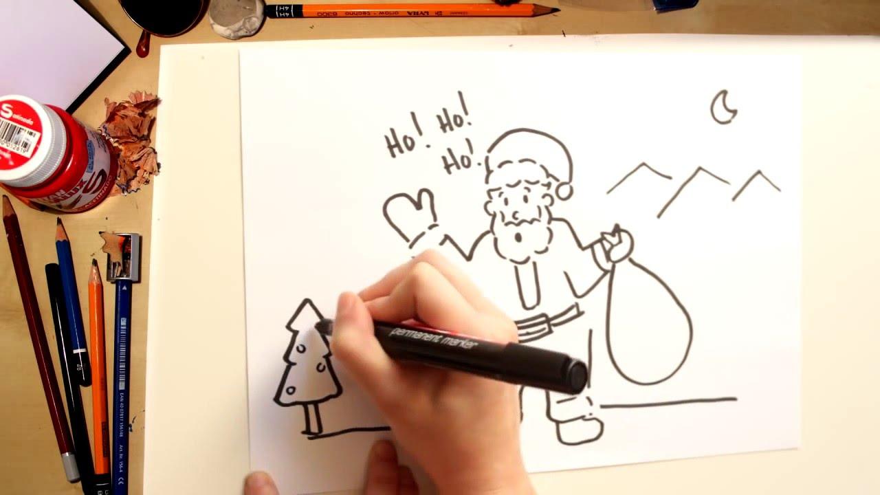 Como desenhar o Papai Noel - desenhos de Natal para crianças