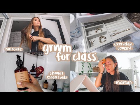 GRWM for college classes senior year! (haircare, makeup routine, outfit, skincare & more!)