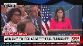 Sarah Sanders and April Ryan tangle about the Eagles and anthem demonstrations