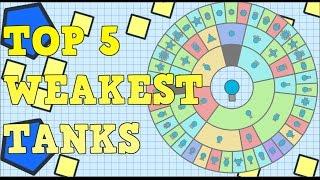 TOP 5 WEAKEST / USELESS TANKS | Diep.io