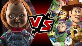 Chucky (Child's Play) VS Toy Story Crew (Buzz, Woody, & Jessie) | BATTLE ARENA