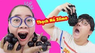 Em Ngốc Nghếch Làm Thạch Nổ Nho Khổng Lồ Troll Anh Mọt Sách Ăn Slime| Gia Đình Vui Nhộn