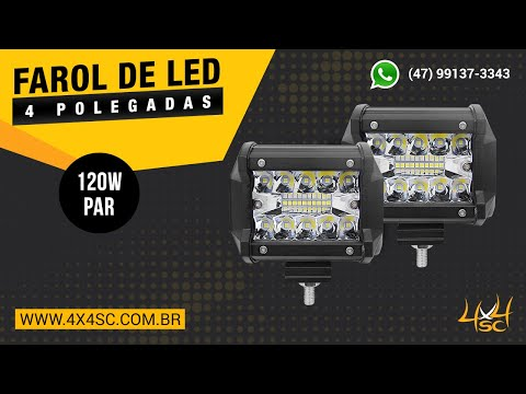 Farol de LED Auxiliar Milha 4 Pol 18w e 60w Combo - Jeep Wrangler Willys Troller Gaiola OFF Road 4x4