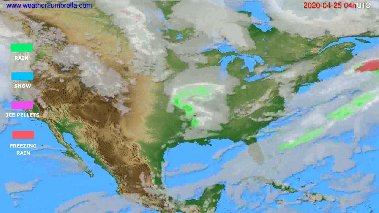 Precipitation forecast USA & Canada // modelrun: 12h UTC 2020-04-24