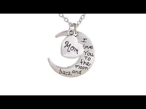 I Love You to the Moon and Back Pendant Necklace w/ Chain