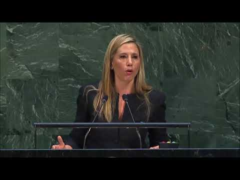 Mira Sorvino (UNODC Goodwill Ambassador) at High-Level meeting of the GA on Trafficking in Persons