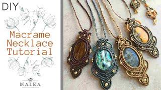 Macrame Necklace 🖤 Beautiful Stone Macrame Necklace Tutorial 🖤 DIY Macrame Jewelry 🖤 שרשרת מקרמה